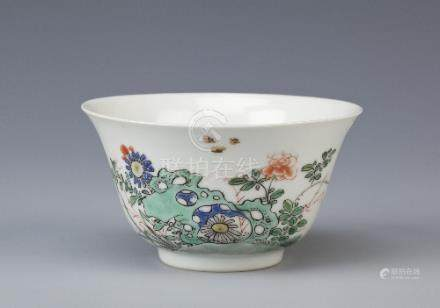 A CHINESE FAMILLE VERTE TEA BOWL KANGXI 1662-1722 The gently flared body painted with insects and