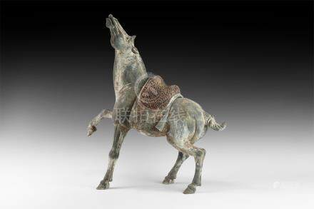 Chinese Tang Horse Figurine with Head Raised