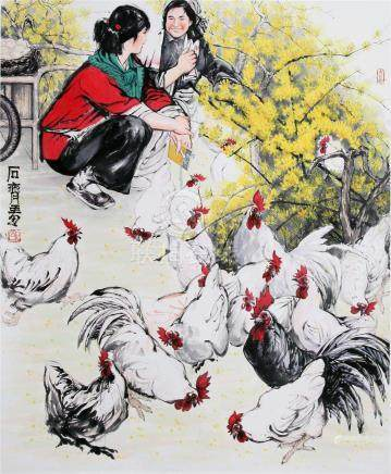 CHINESE SCROLL PAINTING OF GIRLS WITH CHICKEN