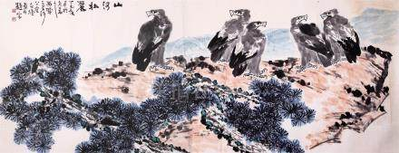 CHINESE SCROLL PAINTING OF EAGLES ON ROCK
