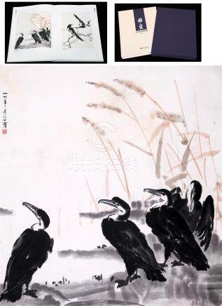 CHINESE SCROLL PAINTING OF BIRDS BY RIVER WITH PUBLICATION