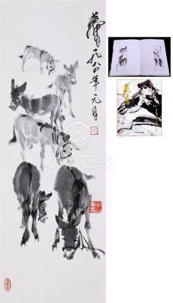 CHINESE SCROLL PAINTING OF DONKEY WITH PUBLICATION