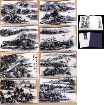 EIGHT PAGES OF CHINESE ALBUM PAINTING OF MOUNTAIN VIEWS WITH PUBLICATION