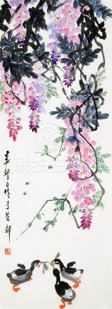 CHINESE SCROLL PAINTING OF DUCKS AND FLOWER