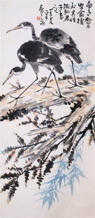 CHINESE SCROLL PAINTING OF BIRDS ON PINE