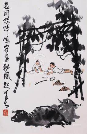 CHINESE SCROLL PAINTING OF BOYS AND OXES WITH PUBLICATION