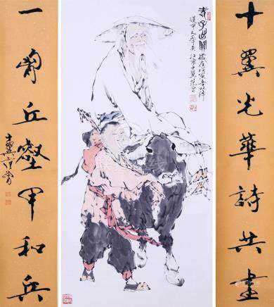 CHINESE SCROLL PAINTING OF MAN ON OX WITH CALLIGRAPHY COUPLET