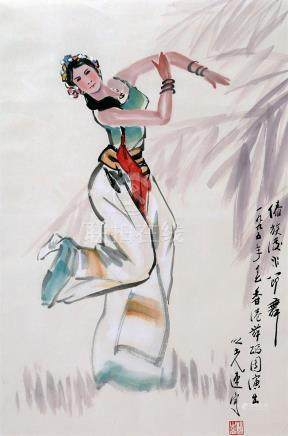 CHINESE SCROLL PAINTING OF FEMALE DANCER WITH PUBLICATION