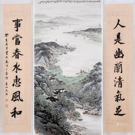 CHINESE SCROLL PAINTING OF LAKEVIEWS WITH CALLIGRAPHY COUPLET