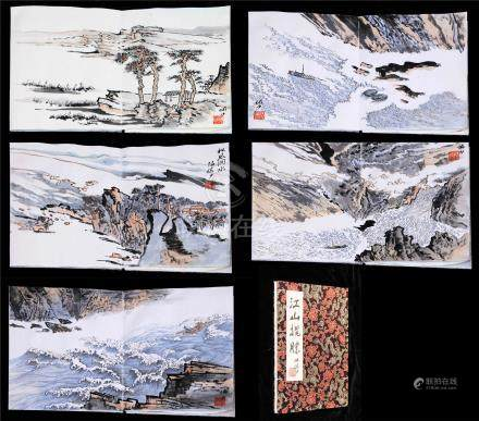FIVE PAGES OF CHINESE ALBUM PAINTING OF MOUNTAIN VIEWS