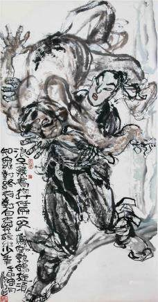CHINESE SCROLL PAINTING OF MEN FIGHTING