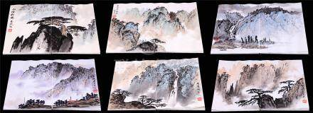 SIX PAGES OF CHINESE ALBUM PAINTING OF MOUNTAIN VIEWS