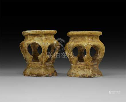 Chinese Ming Ceramic Candle Holder Pair