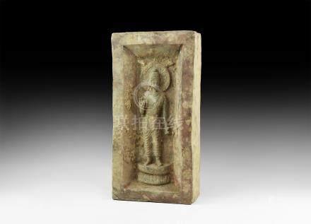 Large Chinese Brick with Buddha Figure