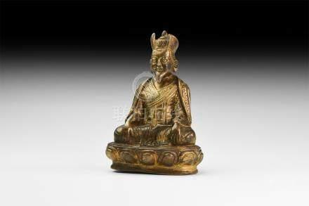 Tibetan Gilt Panchen Statuette