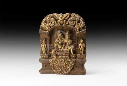 Sino-Tibetan Gilt Buddha and Consort Panel