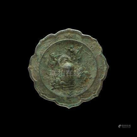 Chinese Han Octofoil Mirror with Horsemen