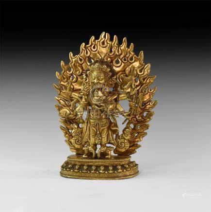 Tibetan Gilt Dzambhala Figurine