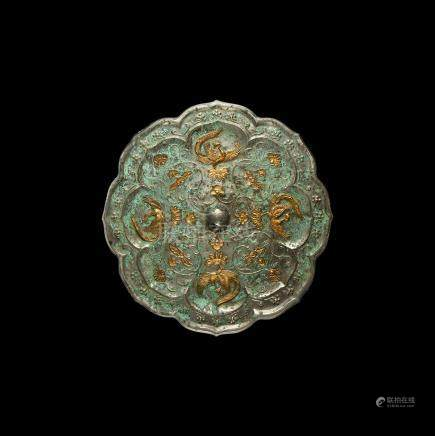Chinese Tang Gilt Mirror with Birds