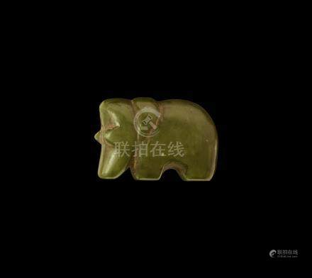 Chinese Qing Carved Jade Bear