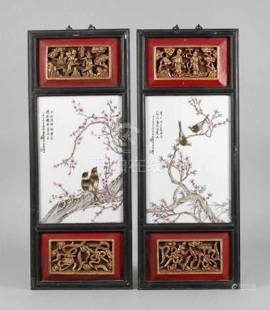 Paar gerahmte Porzellanbildplatten19. Jh., signiert und gemarkt attr. Liu Yuceng, Weißporzellan in
