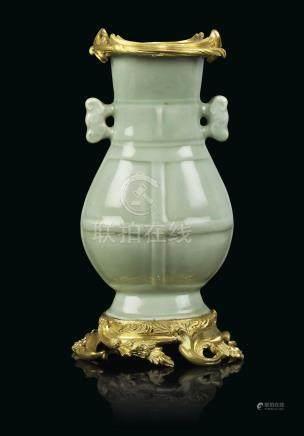 A LOUIS XV ORMOLU-MOUNTED CHINESE CELADON 'HU' VASE