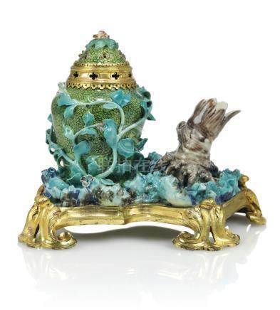 A LOUIS XV ORMOLU-MOUNTED CHANTILLY PORCELAIN POT-POURRI VASE AND COVER