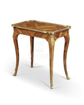 A LOUIS XV ORMOLU-MOUNTED BOIS SATINE, KINGWOOD, AMARANTH AND MAHOGANY MARQUETRY TABLE A ECRIRE