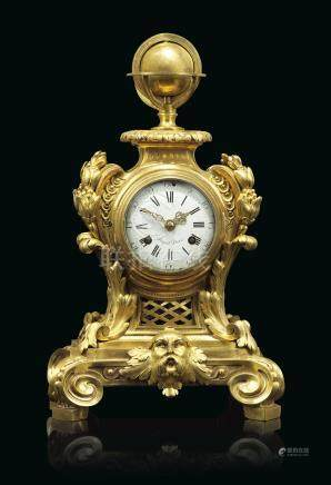 A LATE LOUIS XV ORMOLU QUARTER-STRIKING MANTEL CLOCK