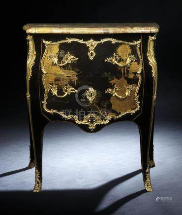 A LOUIS XV ORMOLU-MOUNTED CHINESE LACQUER AND JAPANNED COMMODE