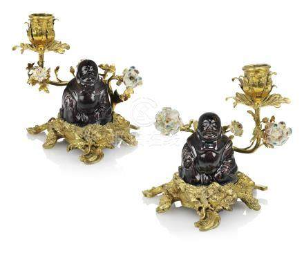 A PAIR OF LOUIS XV ORMOLU-MOUNTED CHINESE PORCELAIN CANDELABRA