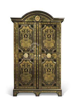 A LOUIS XIV ORMOLU-MOUNTED TULIPWOOD, BRASS-INLAID EBONY AND EBONIZED BOULLE MARQUETRY ARMOIRE