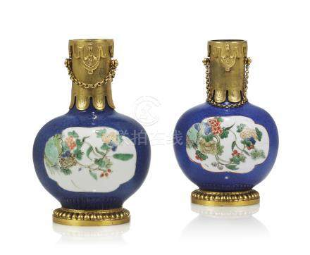 A PAIR OF FRENCH ORMOLU-MOUNTED CHINESE FAMILLE VERTE PORCELAIN VASES
