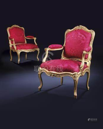 A PAIR OF LOUIS XV GILTWOOD FAUTEUILS A LA REINE