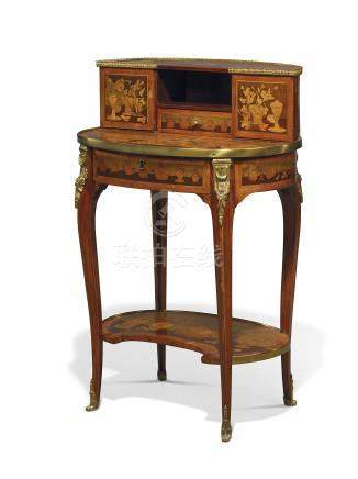 A LATE LOUIS XV ORMOLU-MOUNTED TULIPWOOD, AMARANTH AND GREEN-STAINED WOOD MARQUETRY BONHEUR-DU-JOUR
