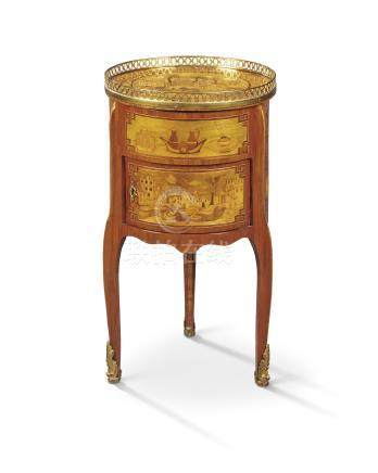 A LOUIS XV ORMOLU-MOUNTED TULIPWOOD, AMARANTH AND GREEN-STAINED WOOD MARQUETRY OCCASIONAL TABLE