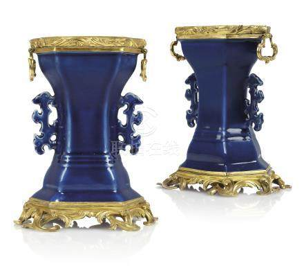 A PAIR OF LOUIS XV ORMOLU-MOUNTED CHINESE BLUE-GLAZED PORCELAIN VASES
