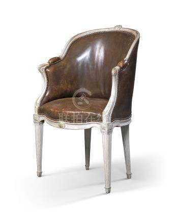A LATE LOUIS XV GREY-PAINTED FAUTEUIL DE BUREAU