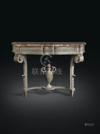 A MATCHED PAIR OF LOUIS XVI GREY-PAINTED CONSOLES