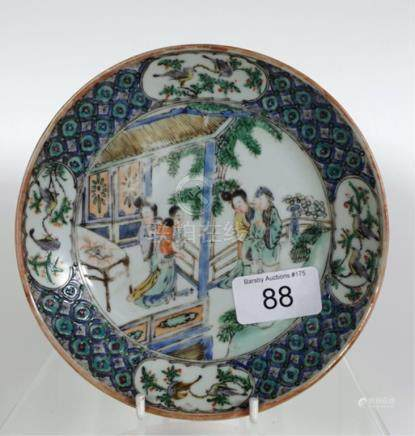 Well painted 18th C Chinese export ware dish