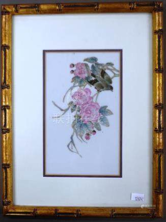 Framed Chinese hand painted ceramic tile