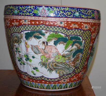 Large Chinese polychrome pottery jardiniere