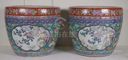 Pair of Chinese polychrome jardiniere pots