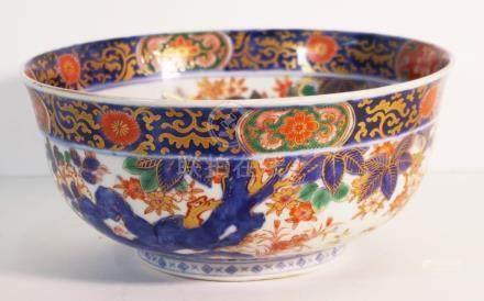 Japanese Imari bowl with eagle and rabbits