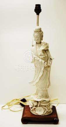 Antique Chinese blanc de chine GuanYin lamp