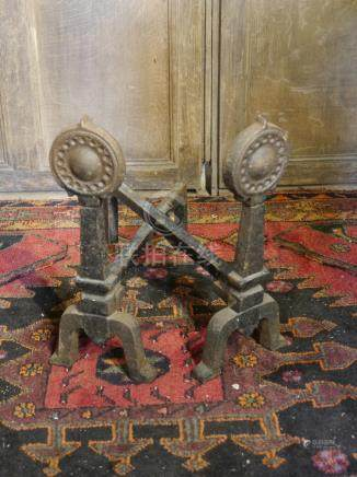 Lot 216 Celtic style Heavy weight fire dogs
