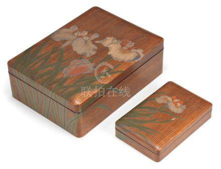 A matching set of lacquered-wood suzuribako (box for writing utensils) and ryoshibako (document box) By Kiyoshi, Showa period, early-mid 20th century (6)