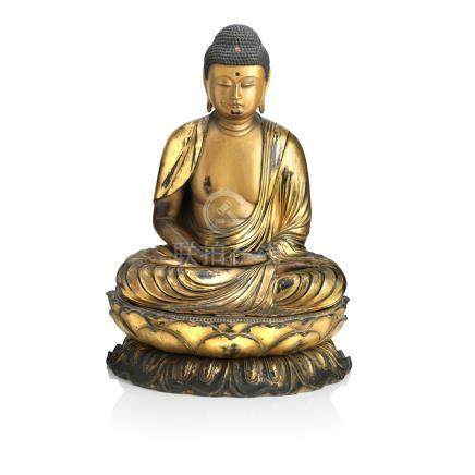 A large lacquered figure of the Amida Buddha 19th century (3)