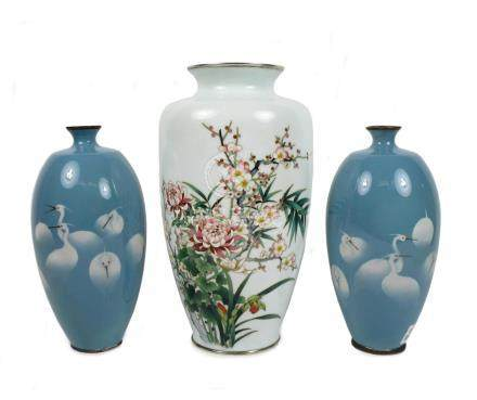 A large cloisonné-enamel vase by Ando and a pair of smaller vases (3)
