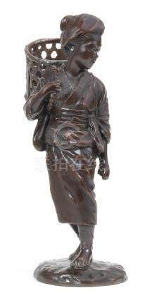 A bronze figure of young peasant girl  By Masanobu, Meiji era (1868-1912), late 19th/early 20th century